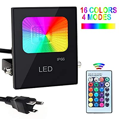 LED Flood Lights with Remote Control, 10W RGBW IP66 Waterproof Dimmable Color Changing Floodlight, 16 Colors 4 Modes Wall Washer Light, Indoor Outdoor Decorative Garden Landscape Lighting