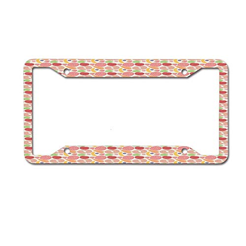(Dinzisalugg Custom Aluminum Metal License Plate Frame Tag Holder Cute,Healthy Snacks Fruits and Vegetables Theme Pomegranate Banana Carrot Fig Pattern License Plate Frame 4 Holes and Screws)