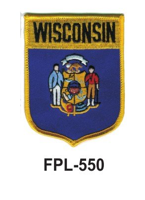 3-1/2'' State Flag Embroidered Patch (Shield) Wisconsin