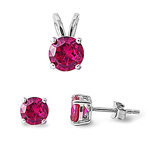 Oxford Diamond Co Simulated Gemstone .925 Sterling Silver Earrings and Pendant Set (Simulated Ruby)