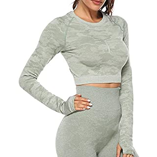 CFR Women's High Waist Seamless T-Shirt Gym Workout Stretch Print Camo Soft Shirts