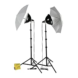 Smith-Victor KT1000U, 2 Light 1000 watt Thrifty Photoflood Intermediate Kit with Umbrellas