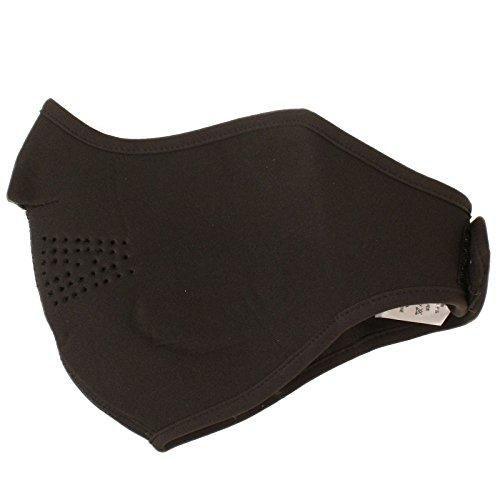 Balaclava Black Fleece Velcro Closure (Men's Thermal Neoprene Fleece Warm Breathable Half Face Mask Ski Snowboard)