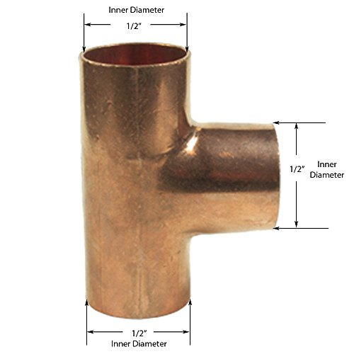 Libra Supply 3/8'', 3/8 inch, 3/8-inch Copper Pressure Sweat Tee C x C x C, (Pack of 5 pcs, click in for more size options) Copper Pressure Pipe Fitting Plumbing Supply