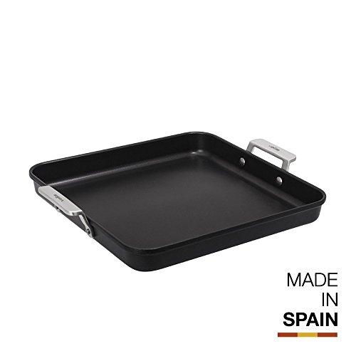 Valira Aire - Plancha Premium de 28x28 cm hecha en España, aluminio fundido con antiadherente reforzado, apta para inducción