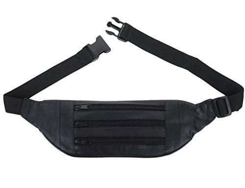 K London Stylish Real Leather Waist Bag(11252) (Black)