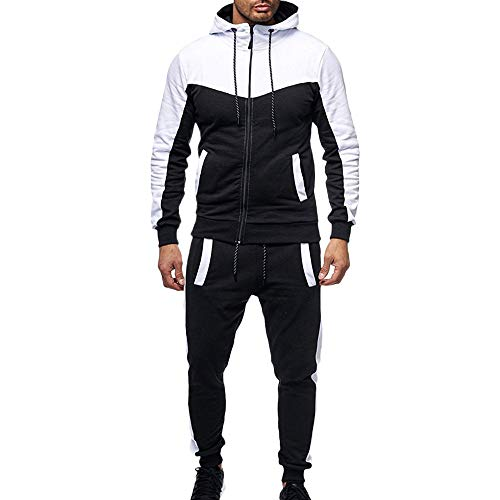 WOCACHI Final Clear Out Mens Tracksuit 2 Piece Sets Patchwork Sweatshirt Tops Pants Hooded Sports Suit Black Friday Cyber Monday Hoodies Jackets Sweatpants Pullover Autumn Winter Long Sleeve Warm ()