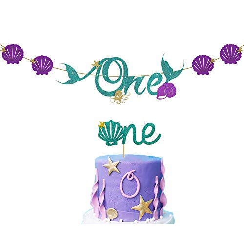 Palksky Mermaid ONE birthday banner with one cake topper/1st First Birthday High Chair Banner Decoration set for Baby shower Under the sea Oecan Party Supplies]()