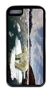case fashion cover Polar Bear Ice TPU Black Case for iphone 5C