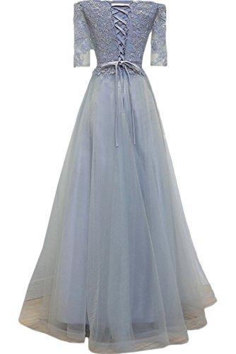 Milano Bride Smart Spitze A-Linie lange Abendkleider Ballkleider Cocktailkleider Fest Hochzeitskleider mit Aermel