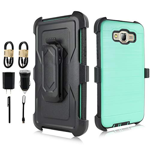 for Galaxy J7 Case,J7 2015 Case(Not Galaxy J7 2016), [Built in Screen] Full-Body Rugged Armor [Brushed Metal Texture] Shockproof Case w/Holster Belt Swivel Clip Kickstand [Value Bundle] (Teal)