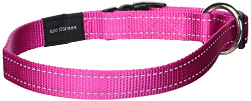 ROGZ Reflective Dog Collar for Large Dogs, Adjustable from 13-22 inches, Pink