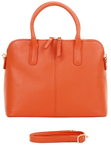 Primo Sacchi Italian Textured Leather Orange Bowling Style Tote Grab Bag or Shoulder Bag (Medium Leather Bowling Bag)