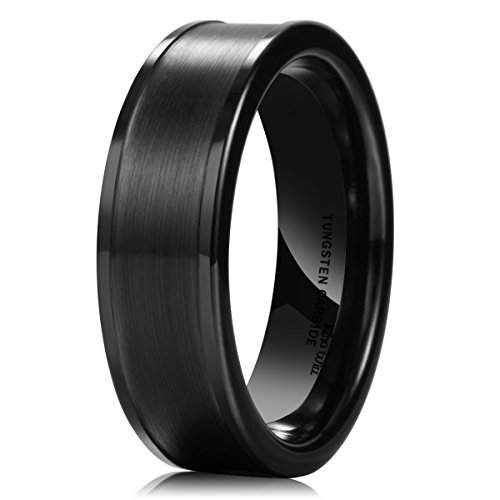 7mm Black Tungsten Band Rings - King Will BASIC Men's 7MM Black Tungsten Carbide Ring Brushed Matte Wedding Engagement Band(10)