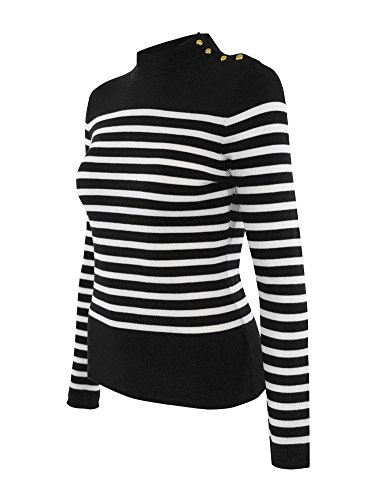 (Cielo Women's Soft Stretch Striped Mock Neck Pullover Knit Sweater Black Ivory M)