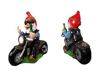 Gartenzwerg Rocker auf Motorrad bruchfestem PVC Zwerg Made in Germany Figur