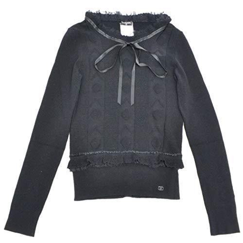 シャネル CHANEL ココマーク リボン ニット プルオーバー セーター トップス 42 ウール ポリエステル ブラック 黒 中古