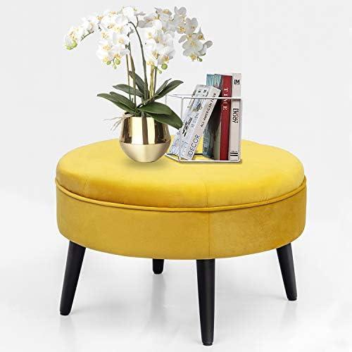 Homebeez Velvet Ottoman Round Footrest Stool