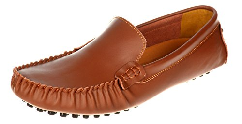 Herobest Mens Vintage Leather Moccasin Casual Business Loafers Shoes Light Brown
