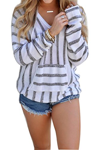 Women's Stripe Print Hoodie Sweater Pullover Top Shirt With Kangaroo Pocket US 10/Tag Size XL (Grey)