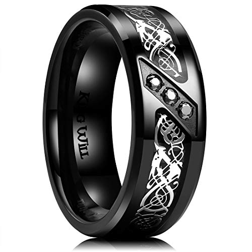 King Will GEM 8mm Black Fiber Paper with Zircon Inlay Titanium Ring Comfort Fit Wedding Band - Sapphire Bands Titanium Wedding