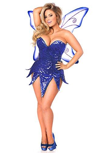 Daisy Corsets Women's Top Drawer Blue Sequin Fairy Corset Dress Costume