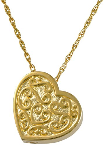 Memorial Gallery MG-3112gp Ornate Heart 14K Gold/Sterling Silver Plating Cremation Pet Jewelry -
