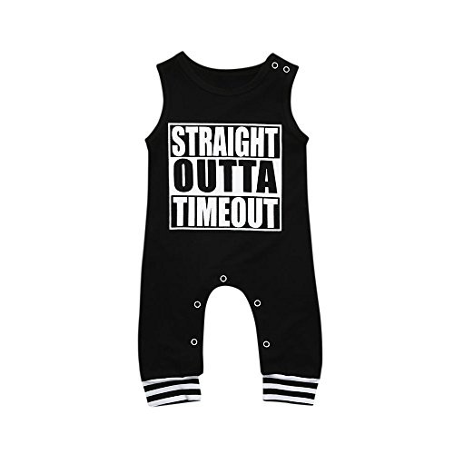 (Baby Romper,Yamally Baby Girl Clothes Toddler Boy Letter Jumpsuit Tops Outfits (24M, Black))