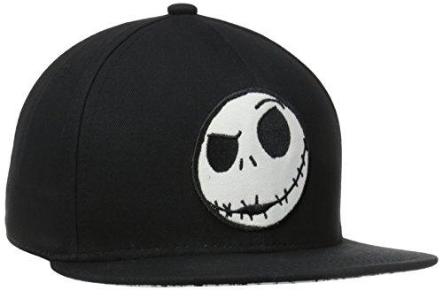 Nightmare Before Christmas Hat (Nightmare Before Christmas Men's Jack Flatbrim with Underbrim Art, Black, One Size)