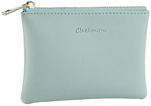 Chelmon Genuine Leather Coin Purse Pouch Change Purse With Zipper For Men Women (Green ()