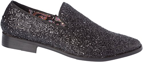 Mens Loafer-Fashion Slip-On Sparkling-Glitter Black Dress-Shoes Size 9 by Alberto Fellini (Image #2)