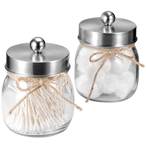 SheeChung Apothecary Jars Set,Mason Jar Decor Bathroom Vanity Storage Organizer Canister,Glass Qtip Holder Dispenser for Qtips,Cotton Swabs,Ball - Stainless Steel Lid/Brushed Nickel (2-Pack) (Glass Bathroom Vanity Set)