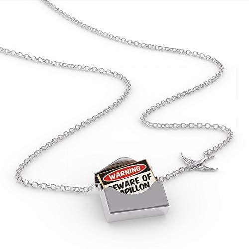 NEONBLOND Locket Necklace Beware of The Papillon Dog from Spain, Belgium, France in a Silver - Necklace Papillon