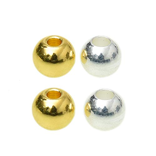 Monrocco 40 pcs 6mm Brass Fly Tying Bead Heads Spacer Beads ()