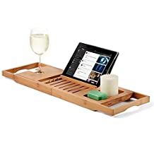 Bamboo Bathtub Caddy Tray, with Extending Sides and Reading Rack, Tablet Holder, Cellphone Tray & Integrated Wine Glass Holder. Designed By: Bambüsi