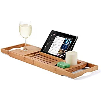 Charmant Bamboo Bathtub Caddy Tray With Extending Sides, Reading Rack, Tablet  Holder, Cellphone Tray
