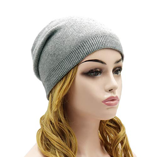 Wheebo Beanie Hat Cashmere Stretch Skull Ski Cap for Women Men -Winter Knit Hat Solid Color Unisex Style Gray ()