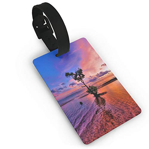 (Luggage Tags Pink Landscape Suitcase Tags Holder Trendy Travel Gifts Labels Travel Accessories)
