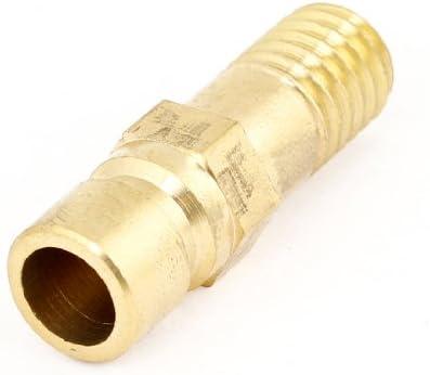 uxcell ブラスストレートコネクタ ゴールドトーンカラー 圧縮リング マレスレッド径 8mm