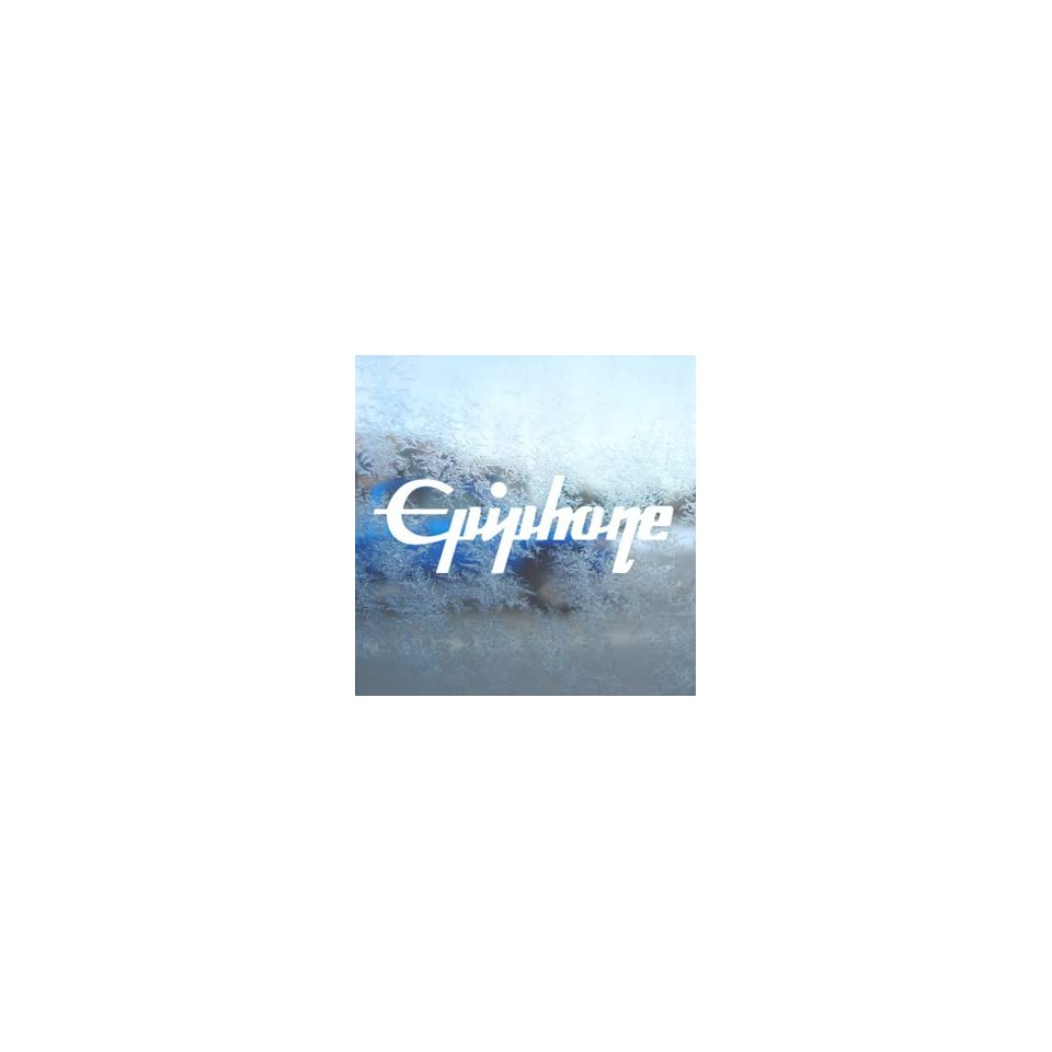 EPIPHONE GUITAR White Decal Car Laptop Window Vinyl White Sticker