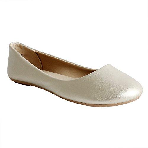 Guilty Schuhe Damen Comfort Round Toe Slip auf Ballett Wohnungen Schuhe Wohnungen 11 Champagner Pu