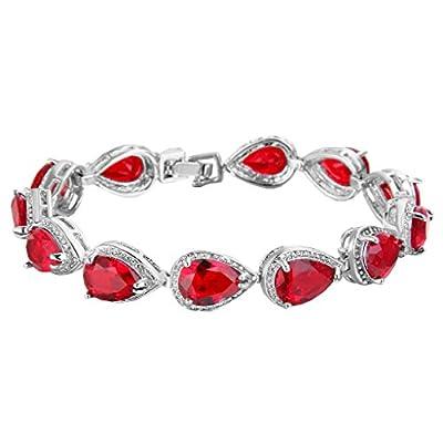 EVER FAITH Women's Prong CZ Birthstone Teardrop Tennis Bracelet Silver-Tone