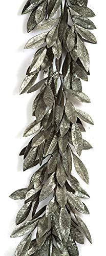 6 Foot Glittered Bay Leaf Garland - Vintage Green Autograph Foliages (Christmas Foliage Autograph)