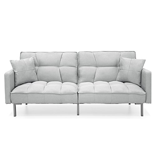 Best Choice Products Home Furniture Convertible Linen Tufted Splitback Futon Couch W/ Pillows (Light Sea Foam Grey) - Futon Living Room Sets