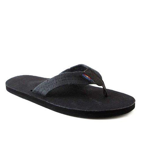Rainbow Sandals Men's Hemp Single Layer Wide Strap with Arch, Black, Men's XX-Large / 12-13.5 D(M) US (Rainbow Sandals Slip)