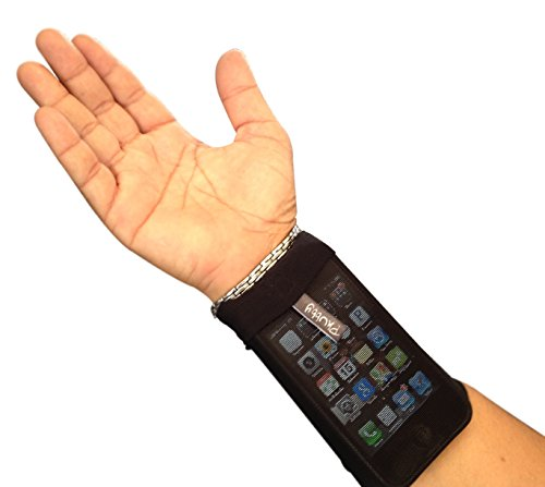 Phubby Wrist Cell Phone Holder & Wallet. Perfect For Sports - Running, Jogging, Cycling, Fishing - A Unisex Mobile Phone Wrist Cubby - Black Medium (Wrist Banjee Wallet)