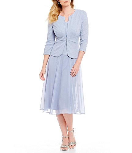 - Alex Evenings Women's Petite Tea Length Blazer Jacket Dress (Regular Sizes), Light Blue, 14P