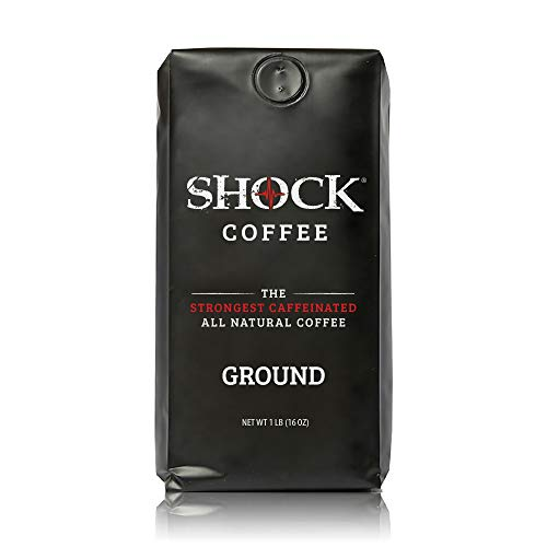 Shock Coffee Ground. Up to 50% more Caffeine than Regular Coffee. Extra Kick In Every Sip. It's like having that second cup without having that second cup!