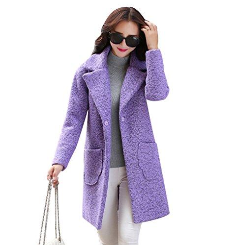 WanYang Mujer Grueso Abrigo Mujeres Elegante Chaqueta Abrigos de Lana Capa Jacket Invierno Parka Púrpura