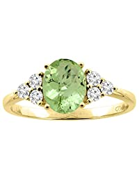 14K Gold Natural Peridot Ring Oval 8x6 mm Diamond Accents, sizes 5 - 10
